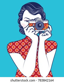 Vector of Retro Chinese Lady holding vintage camera. photographer concept.