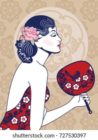 Vector Retro of Chinese Lady in Red Dress Holding Chinese Fan.