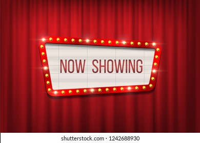 Vector retro cinema announcement board with bulb frame on red curtains background