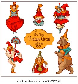Vector retro circus colored hand-drawn icon set. Acrobat, clown, carnival show actors, monkeys, bear in a funny hat. Vector ESP illustration.
