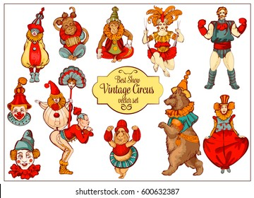 Vector retro circus colored hand-drawn icon set. Acrobat, clown, carnival show actors, monkeys, strong man.