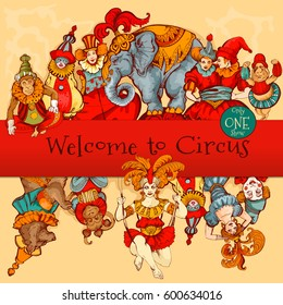 Vector retro circus colored hand-drawn poster. Acrobat, clown, carnival show actors, monkeys, strong man. Amazing amusement show poster template.Carnival concept.