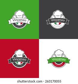 Vector retro classic badge for pizza restaurant. Italian restaurant logotype set.