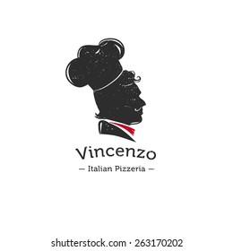 Vector retro classic logo for Italian restaurant. Italian cook's head silhouette logotype.