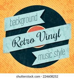 Vector retro color vinyl record card. Eps10