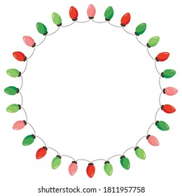 Vector Retro Colorful Holiday Christmas and New Year String Lights Isolated Round Frame on White Background. Winter Holiday Circular Decorative Element Perfect for Invitations, Postcards, Banners