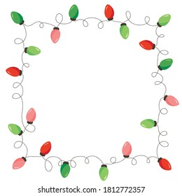 Vector Retro Colorful Holiday Christmas and New Year Intertwined String Lights Square Frame on White Background. Winter Holiday Circular Decorative Element Perfect for Invitations, Postcards