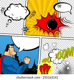 Vector Retro Comic Book Speech Bubbles Illustration. Mock-up of Comic Book Page with place for Text, Speech Bubbles, Symbols, Sound Effects, Colored Halftone Background and Superhero