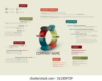 Vector retro Company overview design template