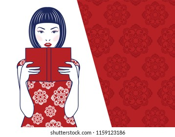 Vector of retro cute lady Chinese reading book on Chinese pattern red and white background
