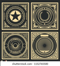 Vector Retro Decorative Covers, Backgrounds, Patterns Obey Style