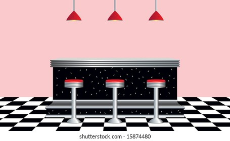 Vector of retro diner 1950s style