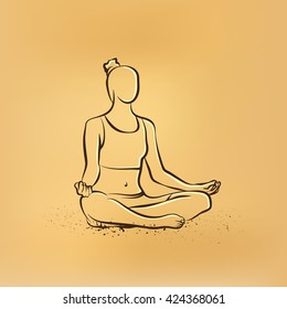 Vector retro drawing illustration of a woman practices yoga.