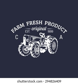Vector retro farm fresh logotype. Organic premium quality products logo. Eco food sign. Vintage hand sketched tractor icon.
