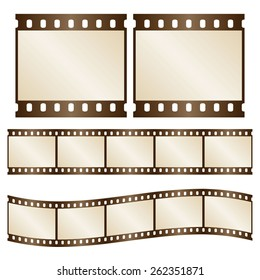 Vector retro film strips - waveform and straight strip. Insulated windows - you can create variable long straight filmstrip. Eps 10 vector file.
