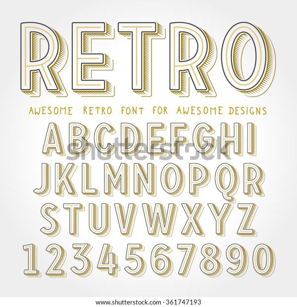 Alphabet Collection In Golden Color: Vector Retro Font Shadow Vintage Alphabet Stock Vector