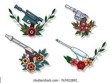 Vector Retro Futuristic Laser Guns and Flowers. Traditional Tattoo Design Stickers