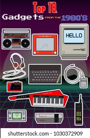 Vector Retro Gadgets from the 1980s