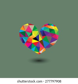 vector retro gradient colorful heart. made from triangles on gray background.