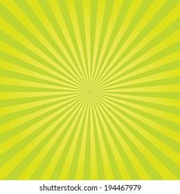 Vector retro green sunburst