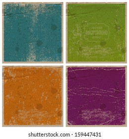 Vector retro grungy messy scratched paper backgrounds set. Vintage used cards with wrinkles, stains and scratches. Can be used for grungy web, banner and flyer design. Blue, green, orange and violet.