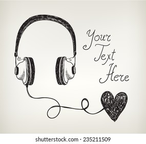 vector retro hand drawn doodle headphones, earphones with heart. Listening to the heart, in love with music
