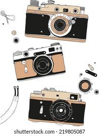 vector retro hand drawn hipster photo camera