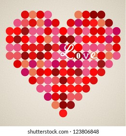 Vector retro heart made from color circles