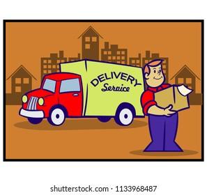 Vector retro illustration of delivery service
