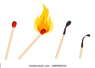 Vector retro illustration of a match with fire. Vintage icon of different match with flame. Vector set of matches.