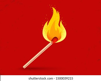 Vector retro illustration of a match with fire on red vintage background. Vintage icon of match with flame