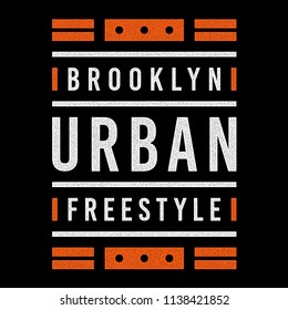 Vector retro illustration on the theme of Brooklyn. Urban. Freestyle. Stylized vintage orange grunge typography, banner, flyer, postcard, t-shirt graphics, poster, print.
