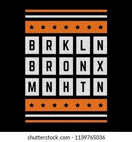 Vector retro illustration on the theme of Brooklyn. Bronx. Manhattan. Urban style. Stylized vintage orange grunge typography, banner, flyer, postcard, t-shirt graphics, poster, print.