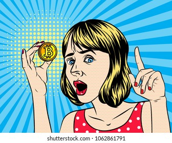 Vector retro illustration  pop art comic style of  a beautiful woman hold a bitcoin. A Vintage poster of a girl with bitcoin in her hand over halftone dot background