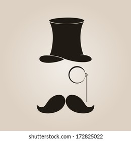 Vector retro illustration with top hat, moustache and monocle