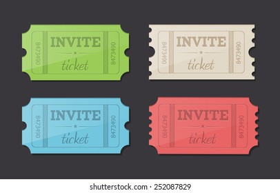 Vector retro invite tickets