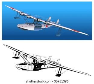 "Vector retro japan seaplane Kawanishi H6K ""Mavis"" More vector airplanes see in my portfolio"