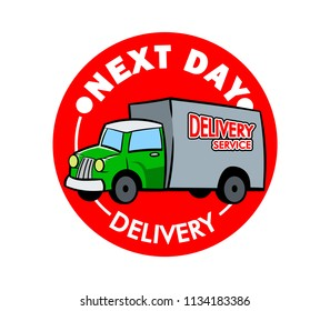 Vector retro label  of delivery service truck