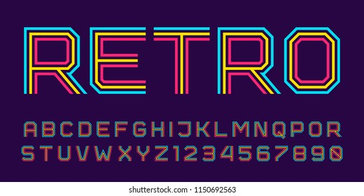 Vector retro line font. Latin alphabet from A to Z and numbers from 0 to 9 made of rainbow line. Outlined stripes style.