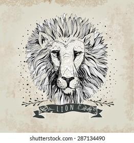 Vector retro lion head design illustration, vintage  logo. Vintage label
