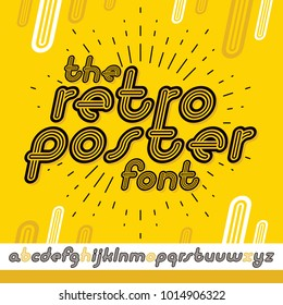 Vector retro lowercase English alphabet letters collection. Cool disco cursive font, script from a to z can be used in poster art. Created using triple stripy, parallel lines.