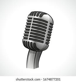 Vector retro microphone design drawing