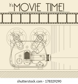 Vector Retro movie poster with Vintage Movie Projector background illustration