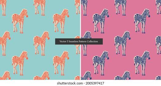 Vector retro neon color Zebra illustration motif seamless repeat pattern digital file artwork home decor print fashion fabric textile pop art