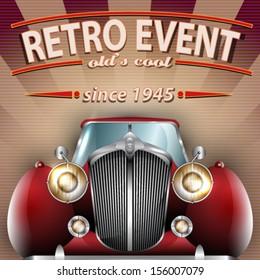 Vector Retro Party brochure illustration with vintage car