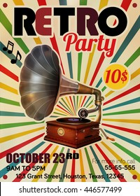 Vector Retro Party poster with Vintage Gramophone illustration