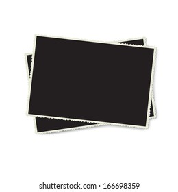 Vector retro photo frame isolated on white background. Template photo design.