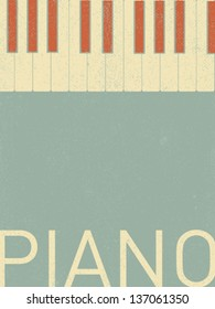 vector retro piano keyboard illustration