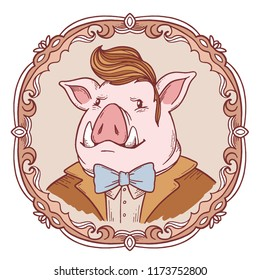 Vector retro portrait of gentle man pig with canines in frock coat. Color illustration in vintage round frame. Hand drawn line art style design of symbol of the new year 2019 for web, greeting card