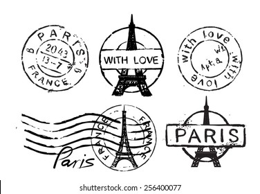 Vector retro postage stamp with Eiffel Tower